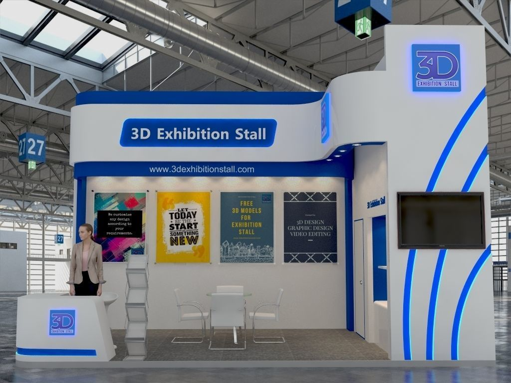 Exhibition Stall Requirements : Exhibition stall d model cgtrader
