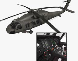 UH-60L Blackhawk with nice interior 3D Model
