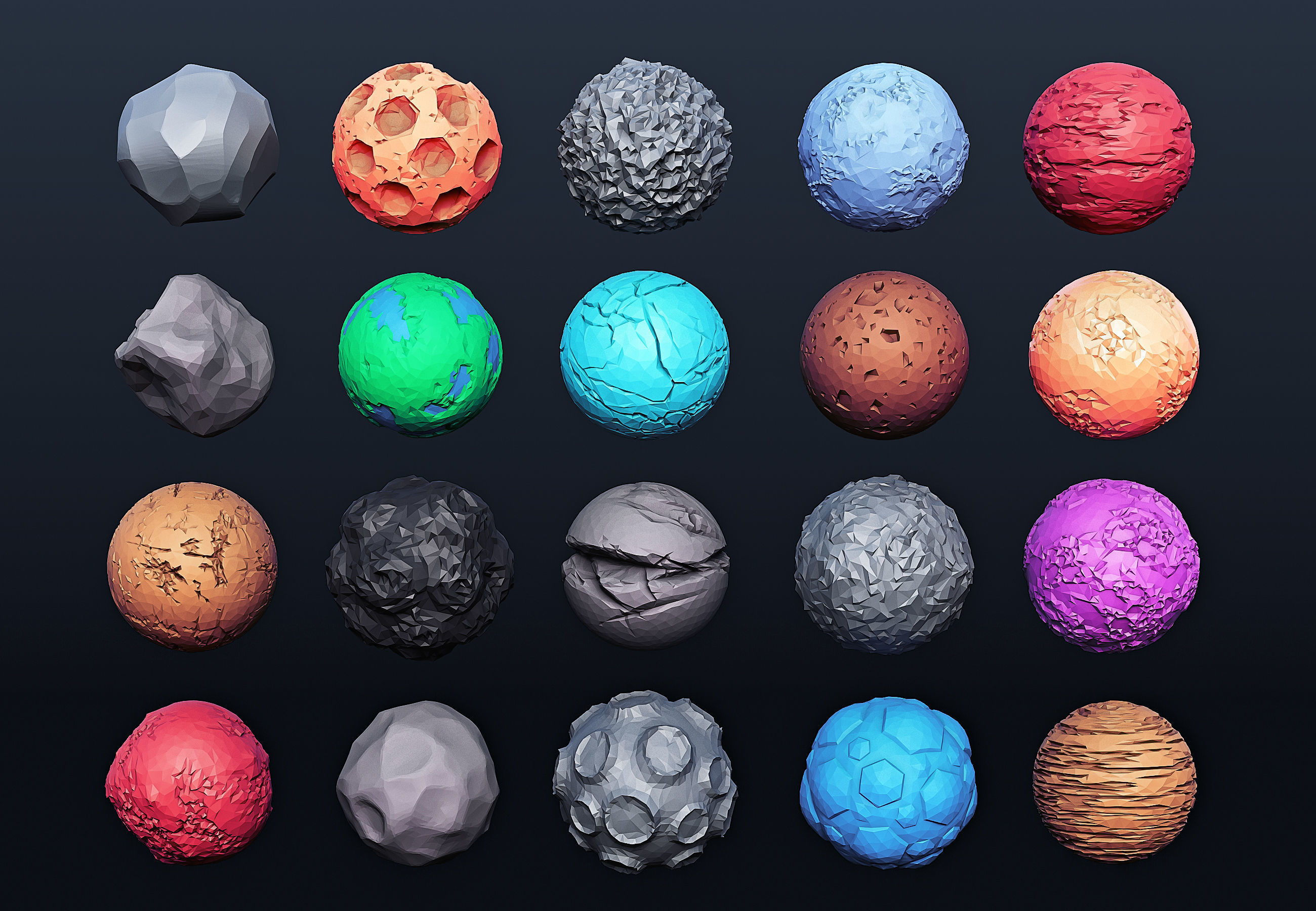 Low Poly Planets 20 models