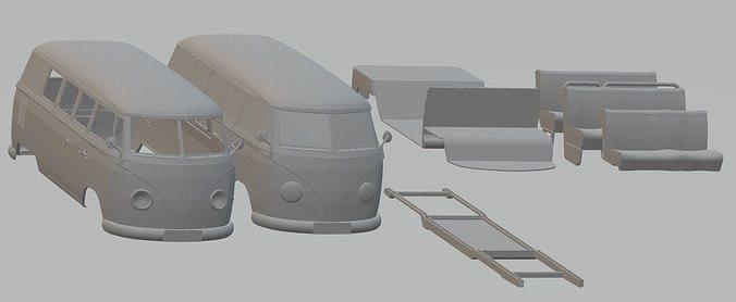 volkswagen transporter t1 printable van 3d model max stl 1