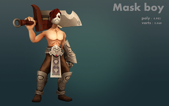 mask boy 3d model low-poly rigged max fbx 1
