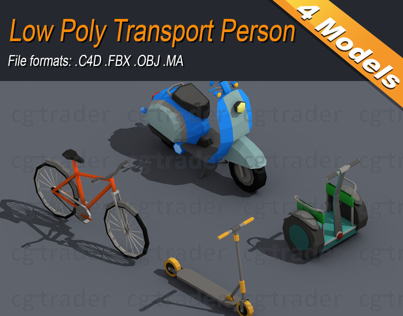 Low Poly Transport Person Isometric