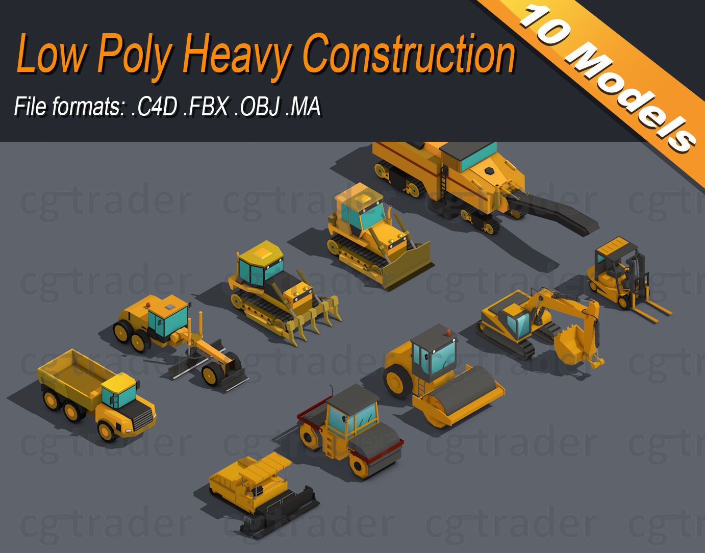 Low Poly Heavy Construction Machinery Equipment Industrial