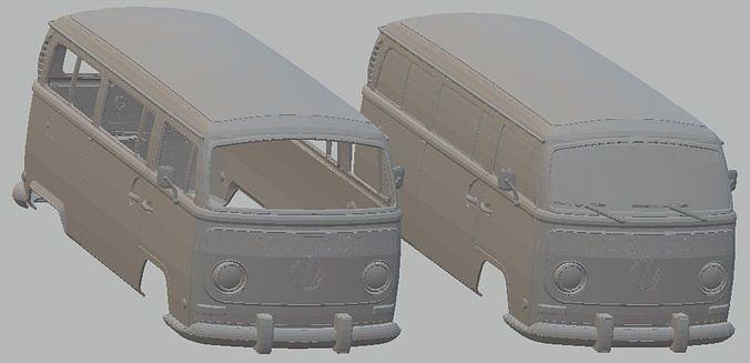 volkswagen transporter t2 printable body van 3d model max stl 1