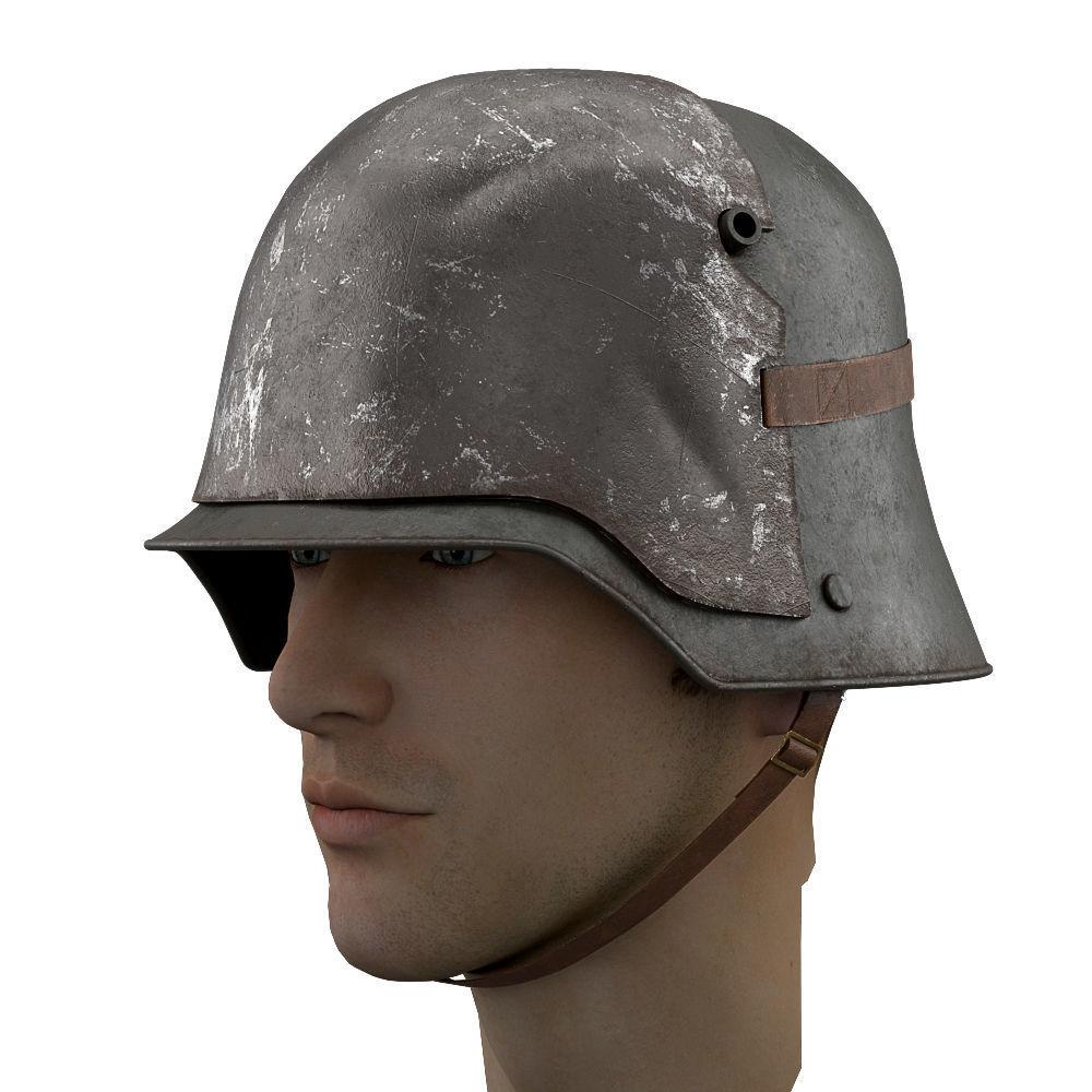 German Helmet WWI Stahlhelm M1916 with protect plate | 3D model