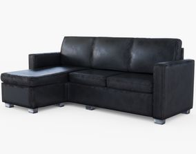 Black Leather Sofa 3D model low-poly