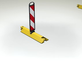 3D model Yellow guide barrier 18 pointing left
