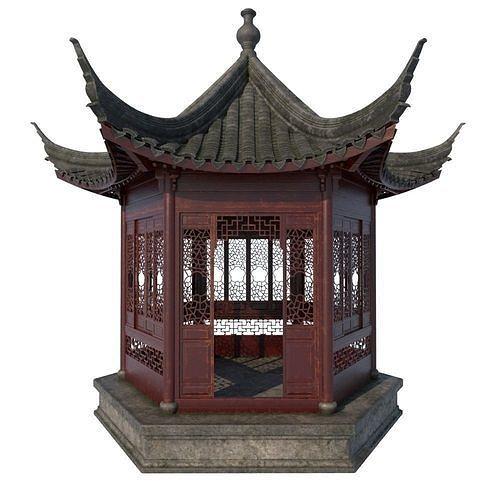 chinese  pavilion 3d model ma mb mel 1