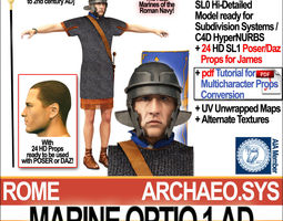 3d model roman marine optio 1 ad with poser daz props