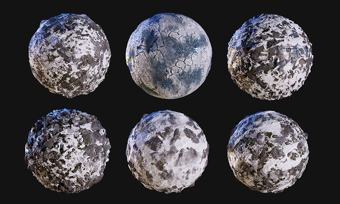 snow ice seamless pbr texture pack 3d model obj mtl 1