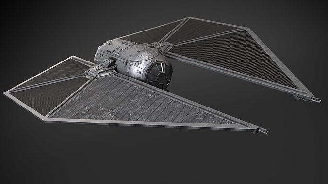 star wars tie striker 3d model rigged max obj mtl 3ds fbx c4d lwo lw lws 1