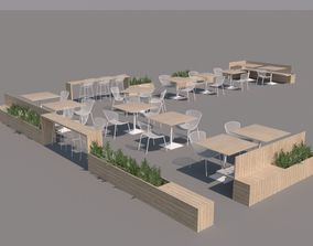 3D model Exterior restaurant seating set II