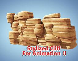 3d stylized cliff