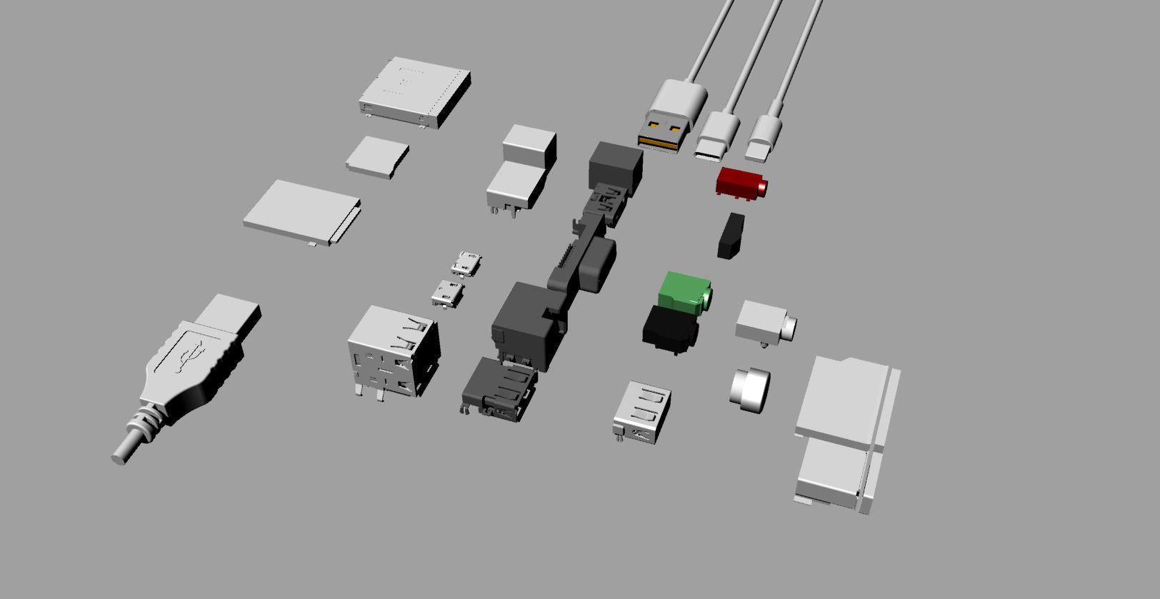 Various electronic component interfaces 3D Model