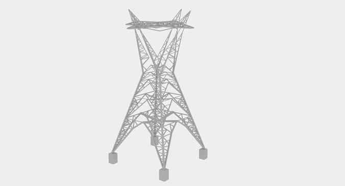 electric tower huge 3d model low-poly max obj mtl 3ds fbx dxf stl 1