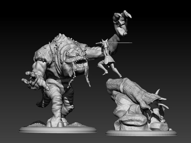 ahsoka and the rancor 3d model stl 1