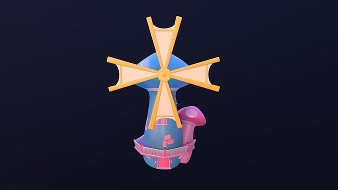 asset - cartoons - background- windmill - hight poly 3d model low-poly max obj mtl fbx ma mb hrc xsi tga 1