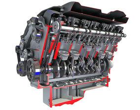 3D model Sectioned V12 Engine