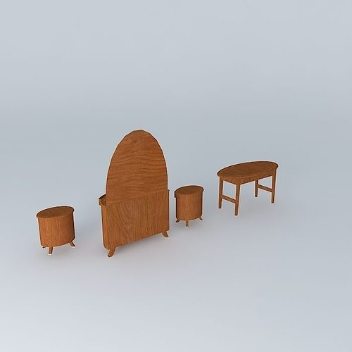 Oval Tables And Dresser With Half Oval Mirror 3d Model Max Obj 3ds Fbx Stl  Dae ...