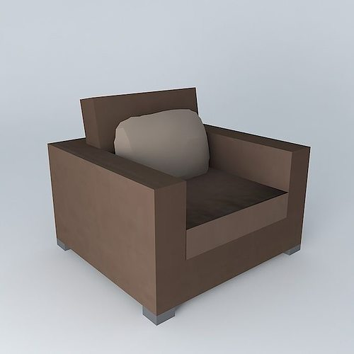 milano chocolate armchair maisons du monde 3d model