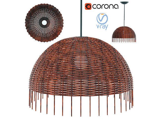 lamp croco 95 gervasoni woven rattan paola navone 3d model max obj mtl 3ds fbx stl 1