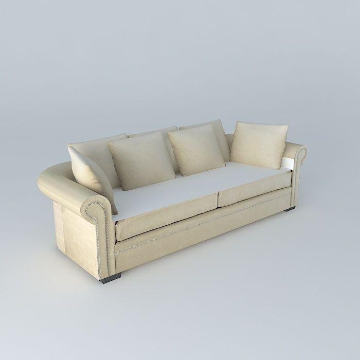 Plazza Natural Linen Sofa Maisons Du Monde 3d Model Max Bip Obj Mtl