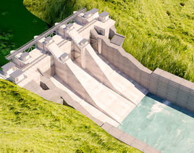Dam 3d model stone