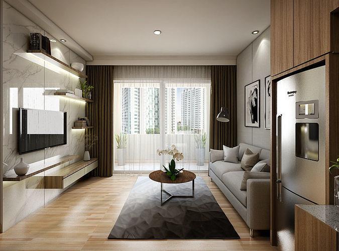 apartement one bedroom modern 3d model skp 1