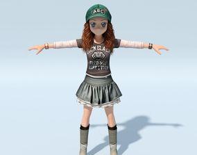 Cartoon Character Cute Girl - Athlete 3D