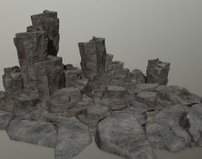 dune 3D model low-poly rocks