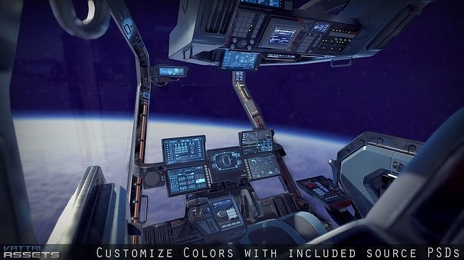 sci fi fighter cockpit 4 3d model max obj mtl 3ds fbx 1