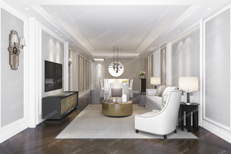 modern european classic living room | 3D model