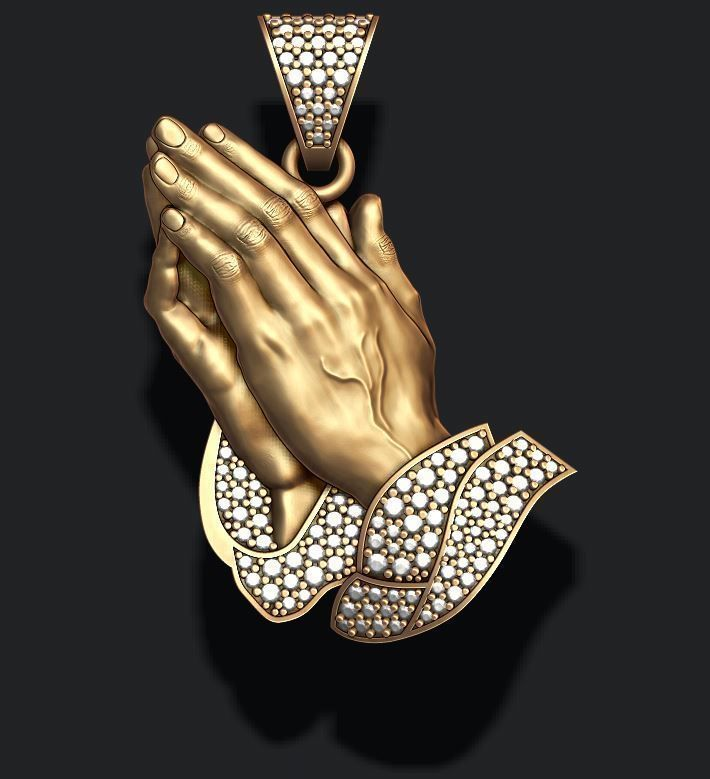 Praying Hands Pendant Necklace with gems bas-relief