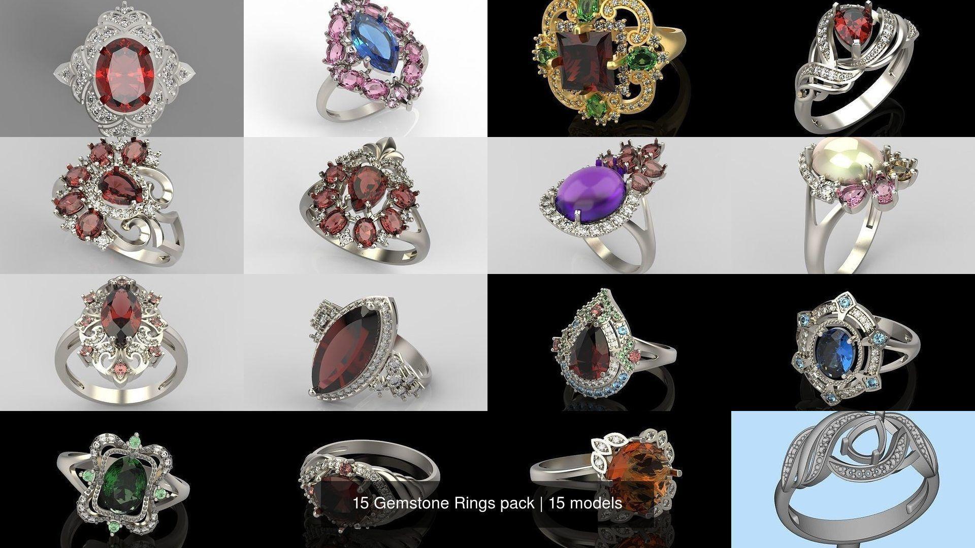 15 Women Gemstone Rings pack 3dm stl 3D print model