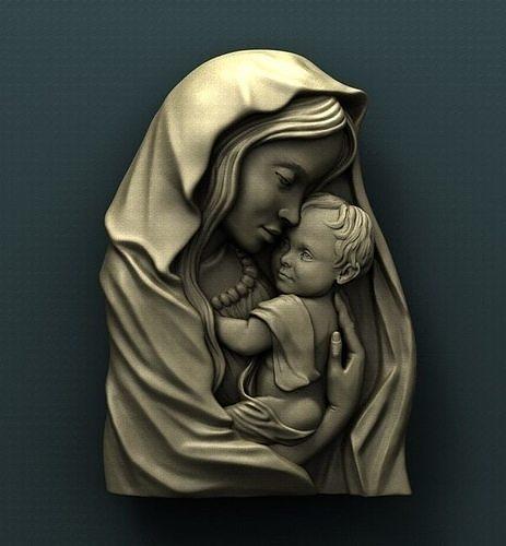 3D Model STL for CNC Router Artcam Aspire Madonna Virgin Mary Mother of God f401