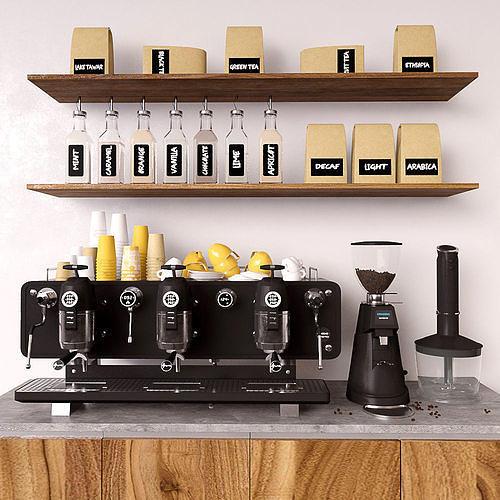 coffee set 3d model max obj mtl 1