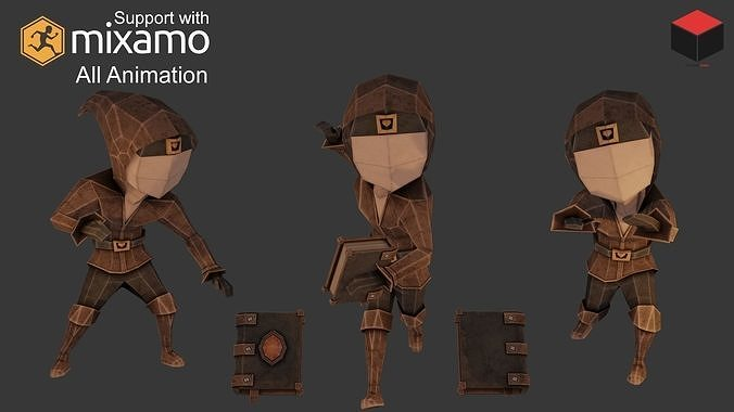 wizard character 3d model low-poly rigged animated obj mtl fbx dae 1