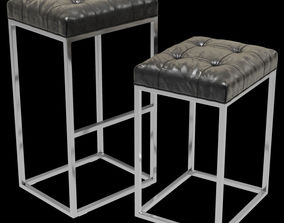 3D Restoration Hardware Reese Tufted Leather Stool
