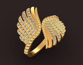3D printable model Angel jewelry double wings ring