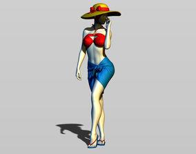 Cute girl on the beach 3D printable model