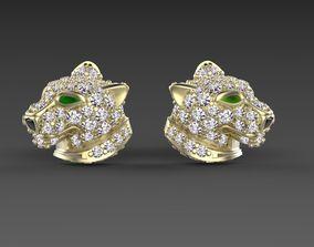 leopard 3D printable model earrings