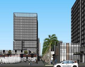 Commercial complex modernism style 15 floors 3D