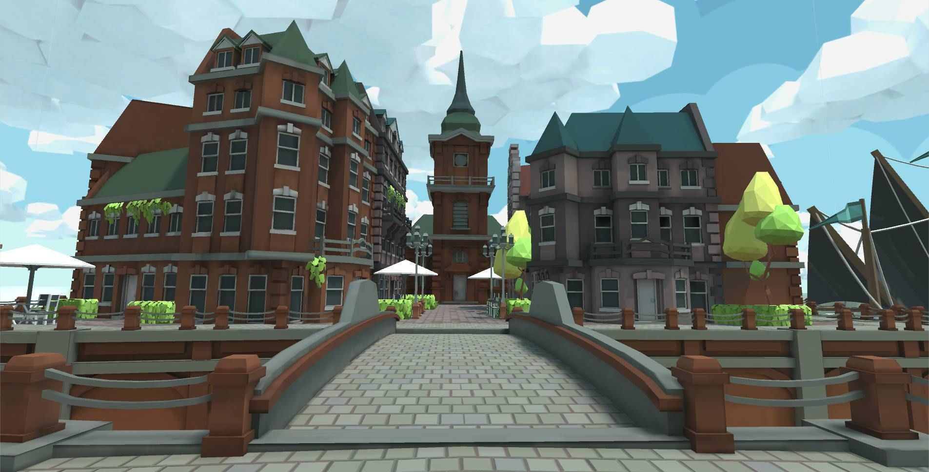 Low Poly Brick Buildings