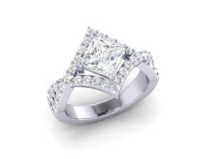 princess cut diamond engagement 3D print model