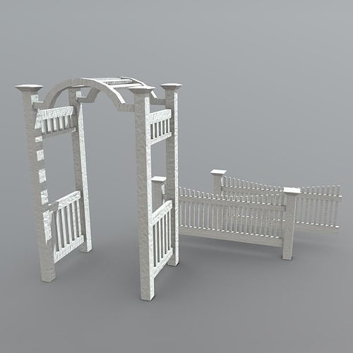 arbor with fence 3d model low-poly obj mtl fbx dae 1