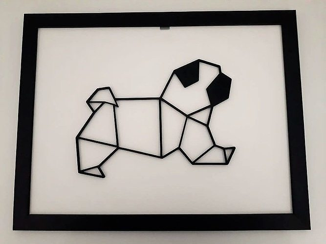 pug sculpture 2d 3d model stl 1
