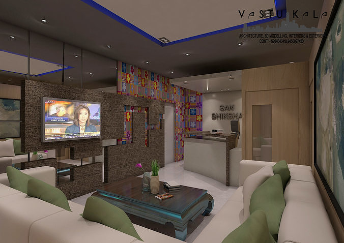 coaching reception and waiting hall 3d model max 1