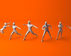 7 Fighting Moves Lowpoly People Minimalist 3D asset