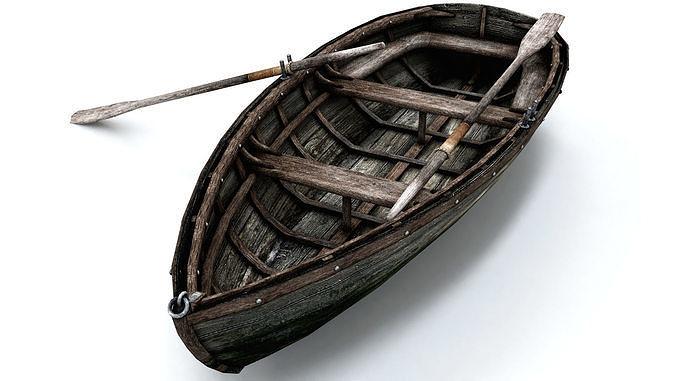 wooden boat low poly 3d model max obj mtl fbx 1