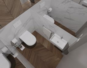Small toilet room with mirror on both sides of 3D model 1
